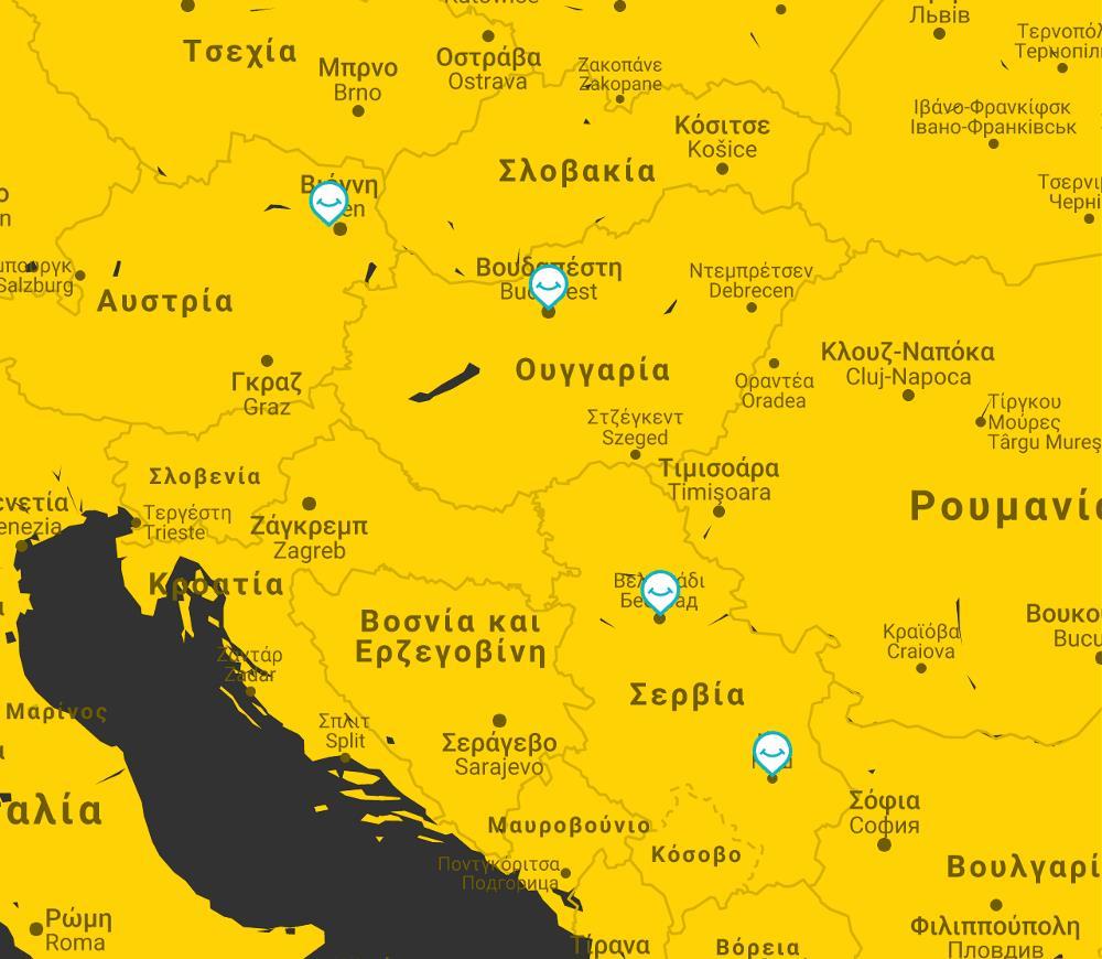 map budapest vienna belgrade