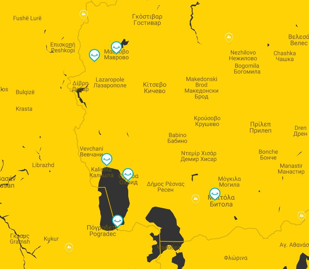 map lake ohrida