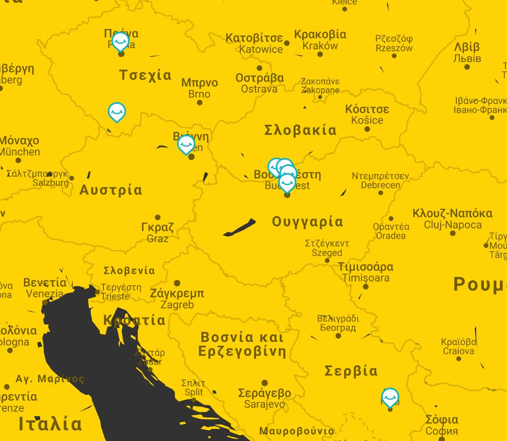map budapest vienna prague